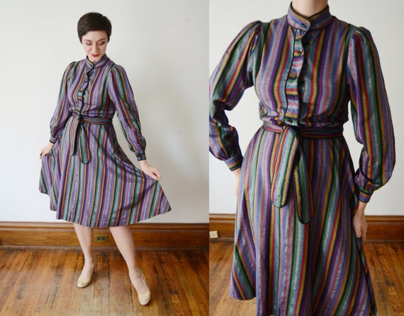 1970s Rainbow Striped Party Dress - M