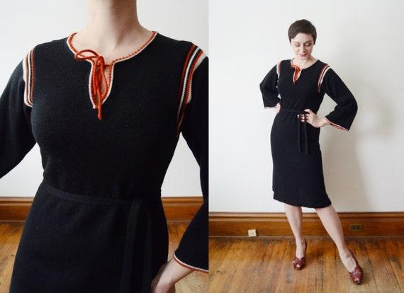 1970s Black Sweater Dress - S/M