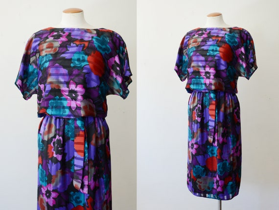 1980s Floral Silky Pullover Dress - S
