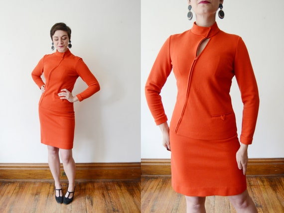 1960s Orange Knit Skirt Suit - S