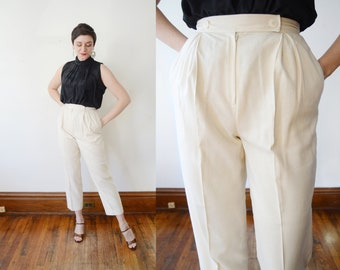90s Off White Silk Trousers - S
