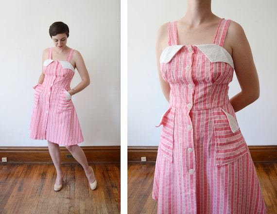 1970s Pink and White Sundress - S