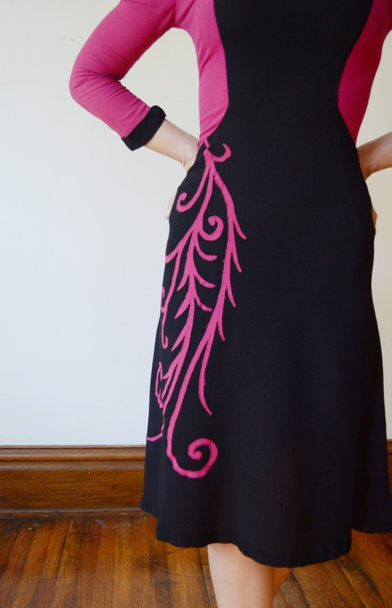 1940s Fuchsia and Black Colorblock Dress - XS - image 9