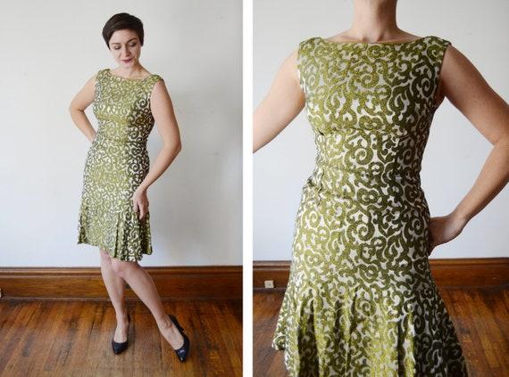 1960s Metallic Mermaid Hem Dress - S