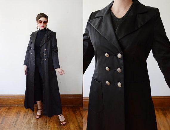 1970s Raincheetahs Long Black Coat - M