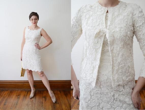 1960s White Ribbon Soutache Dress and Jacket - M