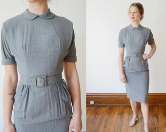 Pat Hartly 50s Grey Fitted Dress - XS