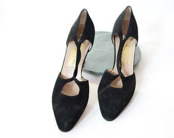 70s/80s Salvatore Ferragamo Black Suede Heels - 9AA