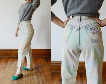 1980s Pastel Highwaisted Acid Wash Jeans - XS