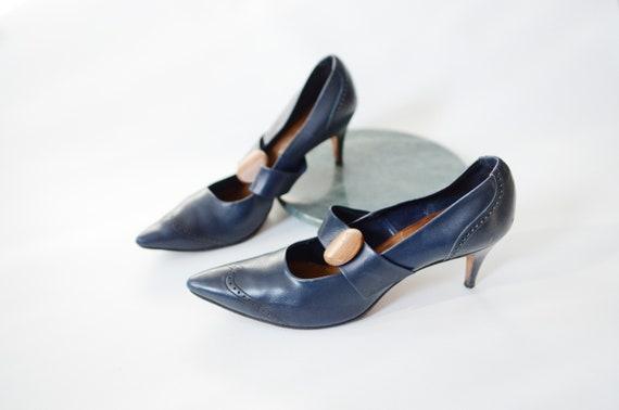 1950s Navy Leather High Heel Pumps 6.5
