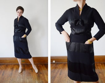 1950s Black Crepe and Satin Striped Party Dress - M