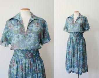 1970s Sheer Blue Floral Dress - S/M