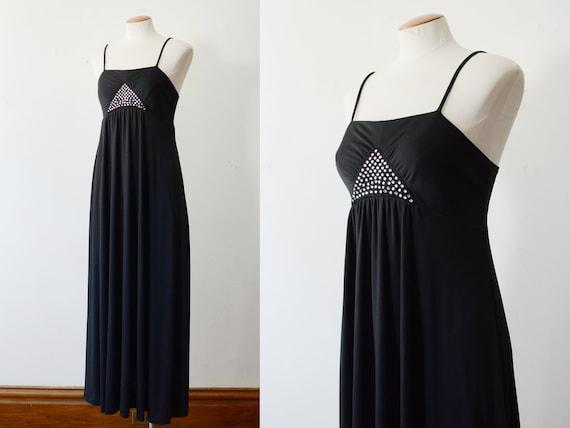 1970s Black Disco Maxi Dress - XS