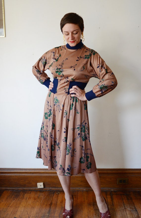 1980s Brown Floral Jersey Dress - M - image 4