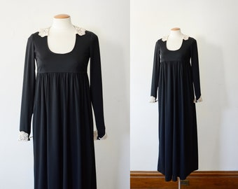 1970s Black Babydoll Maxi Dress with Lace Trim - S