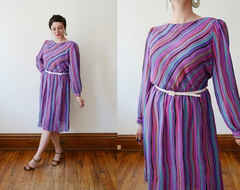 80s Vibrant Striped Dress - M