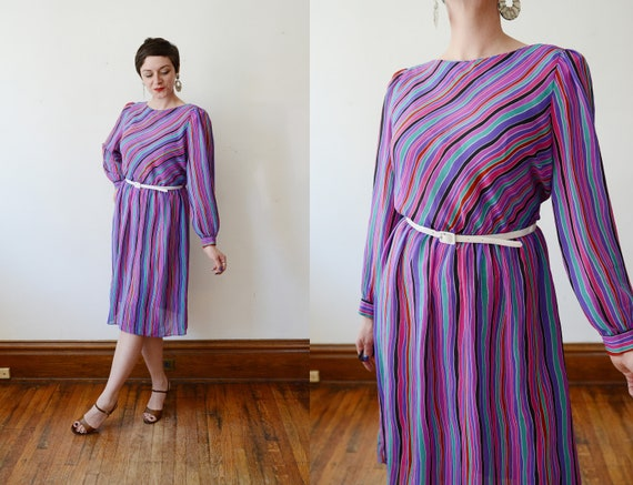 80s Vibrant Striped Dress - M