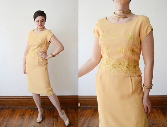 Deadstock 1960s Golden Yellow Cocktail Dress - S