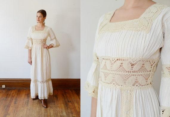 1960s Pintuck Cotton Mexican Wedding Dress - XS