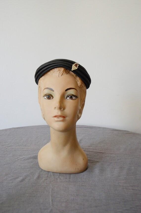 1950s Dark Grey Cap with Rhinestone Accent
