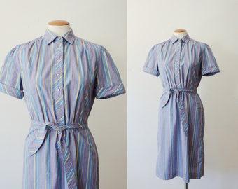 80s Striped Short Sleeve Dress - S/M