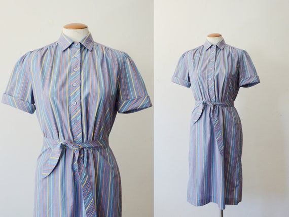 80s Striped Short Sleeve Dress - S/M
