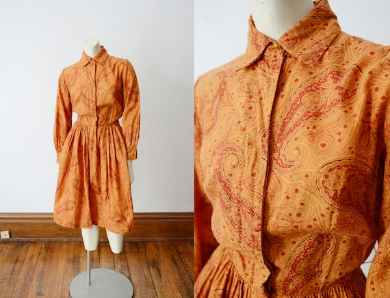1950s Orange Paisley Shirtwaist Dress - S