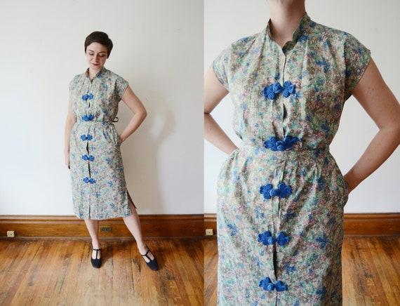 Resort Wear / 1960s Frog Closure Dress - M
