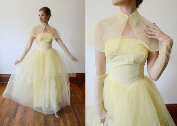 1950s Yellow Tulle Dress with Capelet - XS