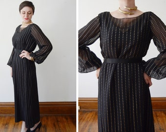 1970s Black and Gold Disco Dress with Bell Sleeves by Sophy Curson - M