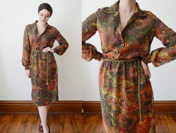 1970s Chiffon Patterned Dress - M