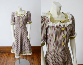 1940s Saks Fifth Avenue Striped Dress - XS/S