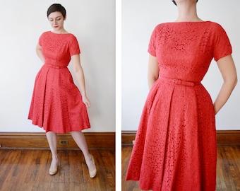 1950s Jeane Scott Red Eyelet Dress - S