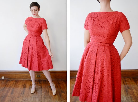 1950s Jeane Scott Red Eyelet Dress - S