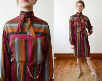 1970s Striped Turtleneck Dress - S
