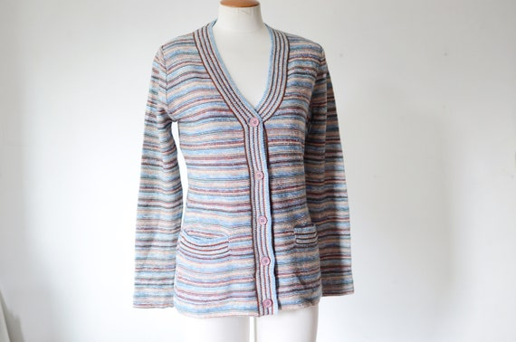 1970s Striped Space Knit Cardigan - S/M
