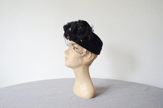 1940s Ostrich Feather Pillbox Hat