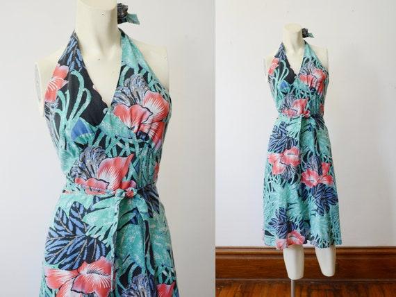 1970s Tropical Halter Wrap Dress - XS