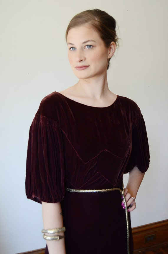 1930s Brown Velvet Puff Sleeve Dress - XS - image 2
