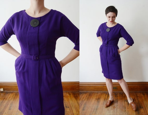 1950s Purple Fitted Dress - M