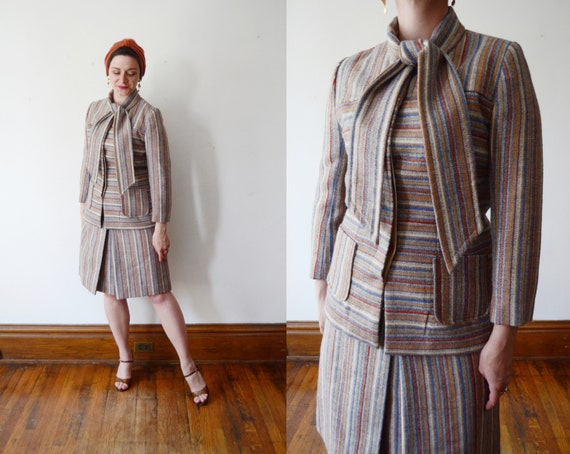 Parisian 1970s Striped Wool Skirt Suit - S