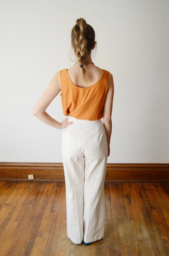 1970s Highwaist White Pants - S - image 2