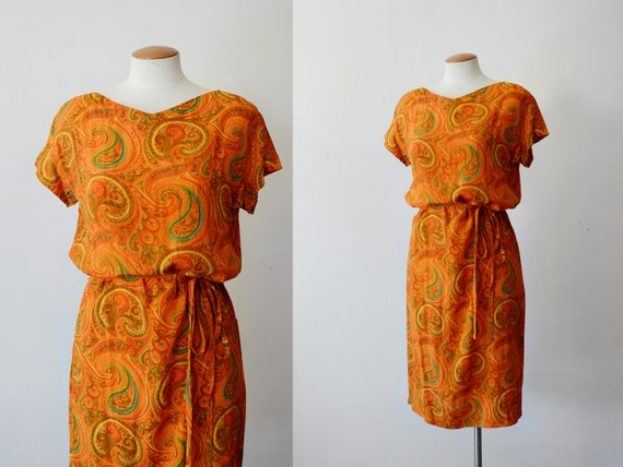 1960s Orange Paisley Shift Dress - S