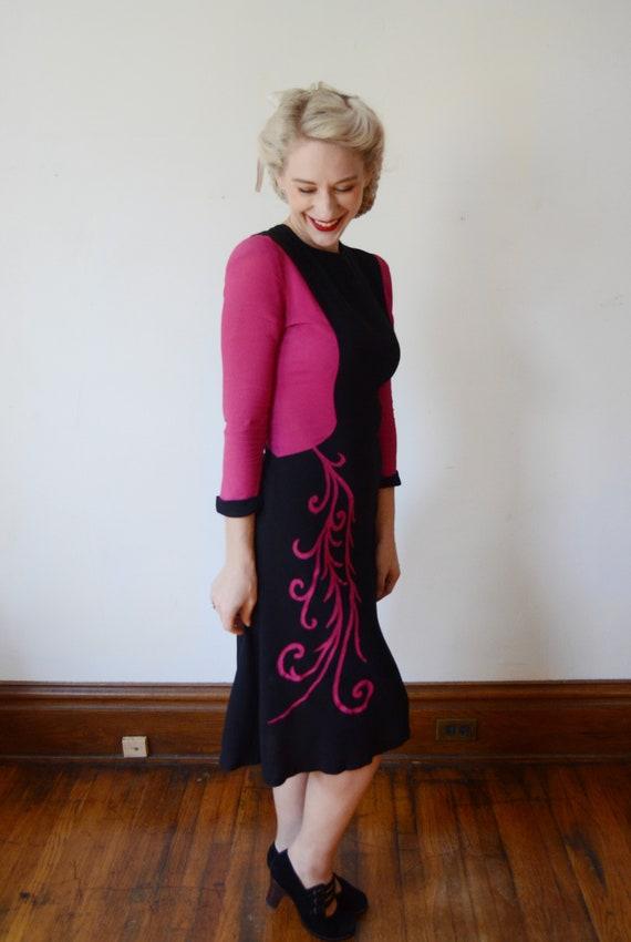 1940s Fuchsia and Black Colorblock Dress - XS - image 5