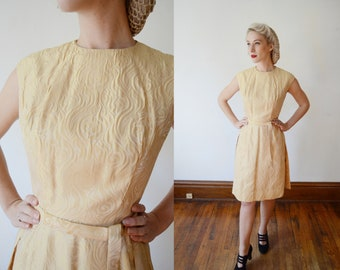 Early 1960s Gold Brocade Party Dress - S