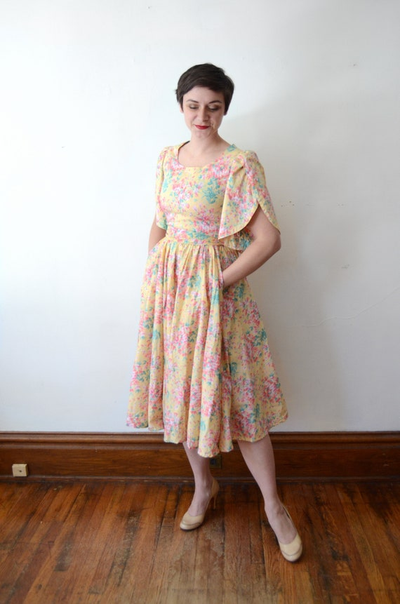1980s Floral Cotton Dress - XS - image 6
