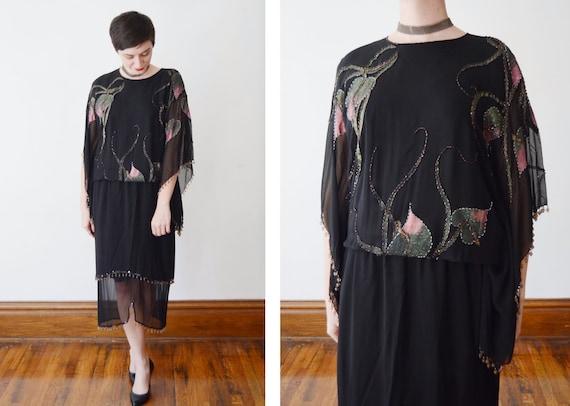 Oleg Cassini Painted Silk Dress - M