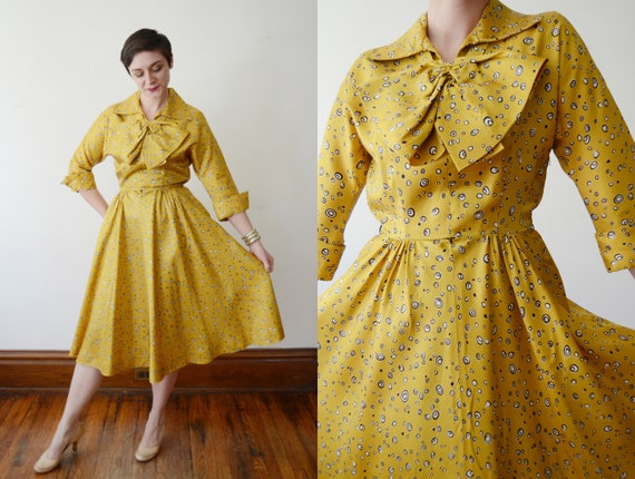 1950s Yellow Party Dress - S/M