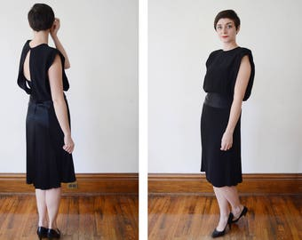 1980s Albert Nipon Black Evening Dress - S/M