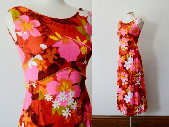 1970s Red and Hot Pink Hawaiian Maxi Dress - XS
